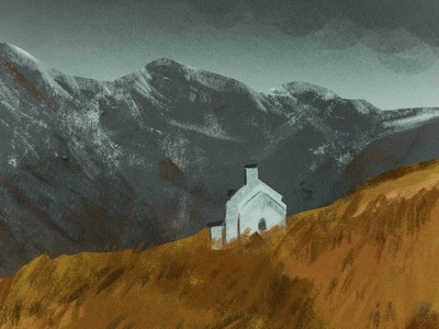 cabin in the mountains fall sky mountains cabin house digitalart art