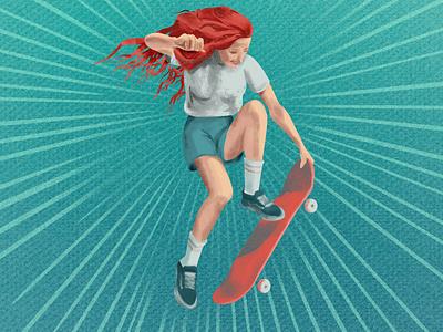 skater girl skatergirl sakter skateboard ginger photoshop illustration girl art digitalart