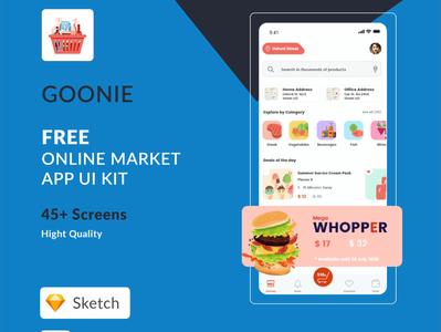 Free Online Market UI Kits (Sketch & XD) app ui designer uiux ux ui design ui kit ui