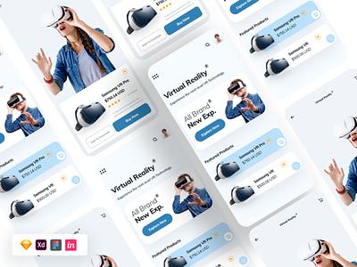 Free VR App UI Kit Concept app design mobile app uidesign freebie ui free ui kit ui design ux design ux ui kit