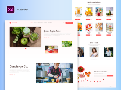 Free Delicious Drinks Landing Page (XD) xd design free website design free landing page landing page xd landing page website design web template web design web xd