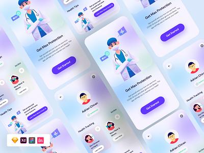 Free Covid 19 App UI Kit Concept sketchdesign xddesign uxdesign uidesign free ui kit app design mobile app design mobile app ui kit ux design ux ui design ui
