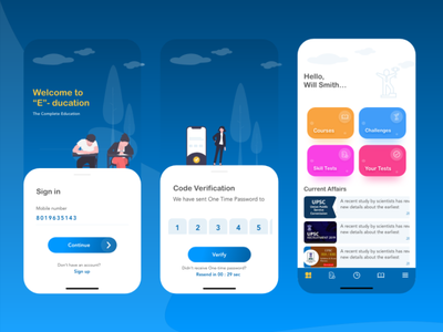 Free Online Education UI Kit Concept freebie ui app design mobile app design ui kits free ui kit ui design ux design ux ui kit ui