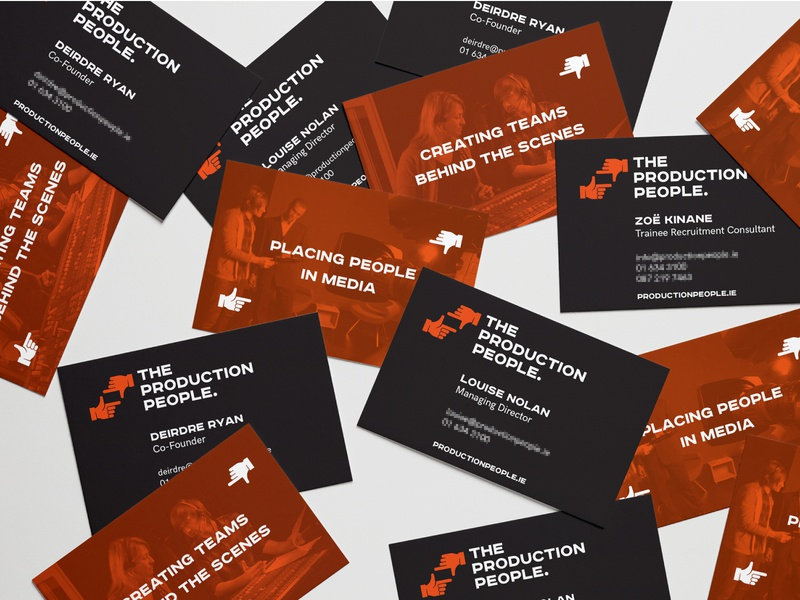The Production People brand identity symbol business cards design business card design business cards hands media visual audio film recruitment broadcasting poster orange agency identity branding logo design brand identity people production
