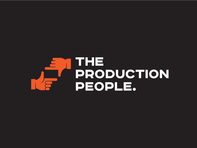The Production People logo icon design media brand identity design orange frame hands hand brand identity broadcasting film logo icon symbol design identity agency symbol logo design branding