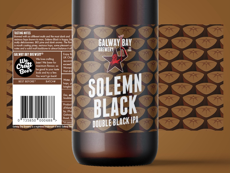 Solemn Black Label Design beer branding illustration packaging pattern design pattern craft craft beer brewery beer label design label design label beer label logo