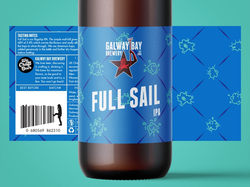 Full Sail Label Design beer branding illustration packaging pattern design pattern craft craft beer brewery beer label design label design label beer label logo