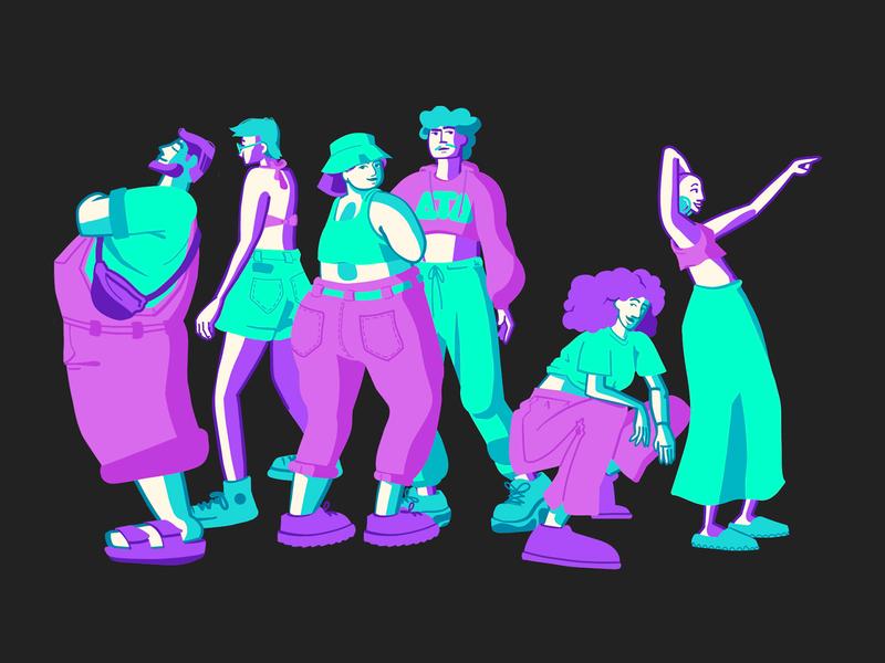 Squad ilustração personagens characters colorful squad character illustration