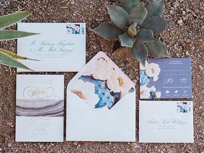 Whitney & Matt Wedding Invitation calligraphy letterpress custom wedding invitation