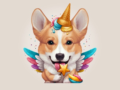 Corgicorn ice cream vector character unicorn dog corgi