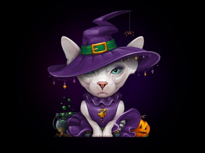Sphynx Cat Witch halloween witch vector pet illustration design character sphynx cat animal