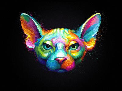 Sphynx Cat rainbow painting cat hairless sphynx portrait
