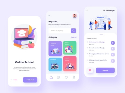 eLearning Platform App UI Design 2021 trend trendy design school app carrier course app education app ui uidesign app design elearning