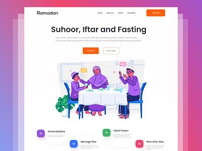 Ramadan Web Header UI ui ux design website design landing page web design muslims islamic prayer web salat clean ui fasting header ui web iftar ramadan