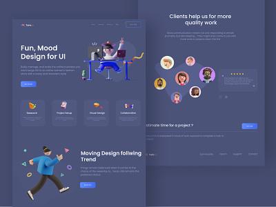 Tompo Dark Web UI Design landingpage productdesign clean 3d illustrations darkmode night mode dark theme dark ui dark dark mode webdesign