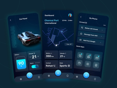 Futuristic car dashboard app app car dashboard dark mode futuristic dashboard car ux graphic design 3d ui