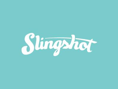 Slingshot logo slingshot script event turquoise event planning