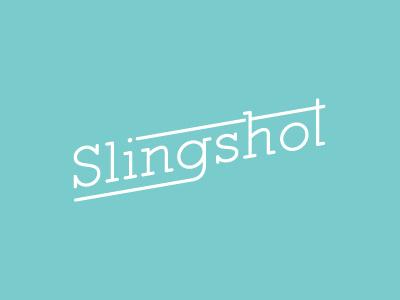 Slingshot (part deux) slingshot slab slant skew turquoise logo type