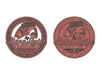 ALANA LOUISE CROP CON BADGE texas fishing fish badge logo mark logotype logo design branding logo lettering type illustration design