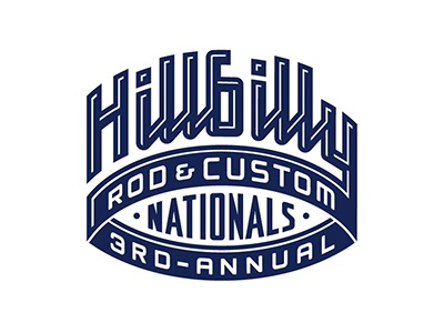 HillbillyNationals hillbilly national car show ohio rod custom annual script typography lettering logo