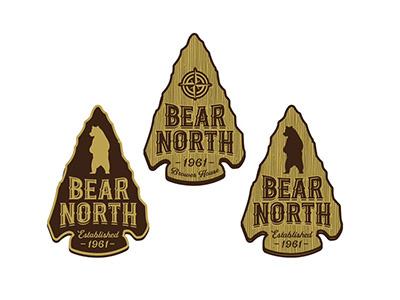 Bear North branding icon lettering arrowhead arrow compass lodge badge logo north bear