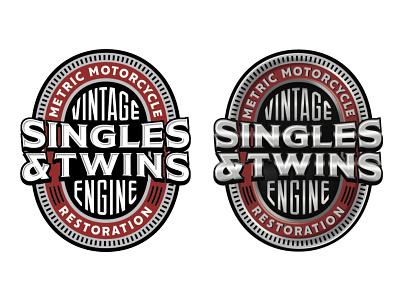Singles & Twins badge twin single vintage engine motorcycle typography custom type logo lettering