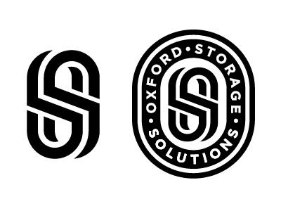 Oxford Storage Solutions monogram badge design lettering icon logo