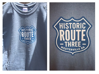 Historic Route 3 apparel screenprinting screenprint lettering badge ohio logo t-shirt tee