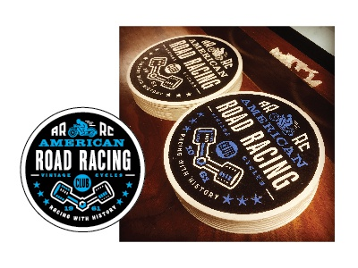 Cafe Racer Coasters  letterpress road racing pistons motorcycle logo icon club cafe bike badge american