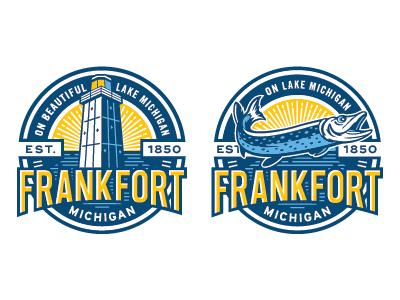 Frankfort Michigan Logos fishing fish lighthouse lake lettering badge icon logo frankfort michigan