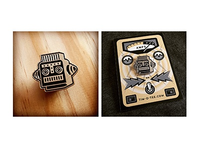 New Robot Pin and Packaging vintage retro chrome metal soft-enamel lapel-pin pin robots robot