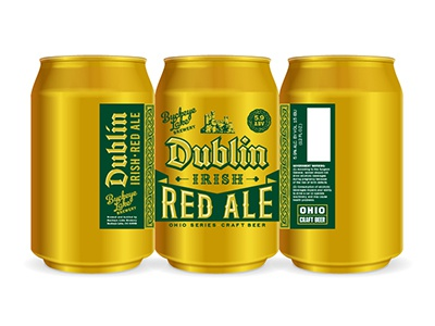 IRISH RED ALE typography red packaging ohio label irish dublin craft brewery beverage beer ale