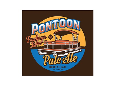 Pontoon Pale Ale brewery buckeye lake boat pontoon ale beer craft illustration label logo