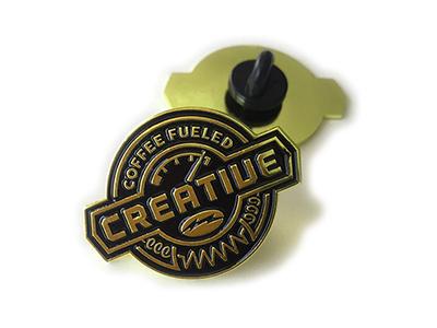 Coffee Fueled Creative Logo Pin badge pin icon logo coffee