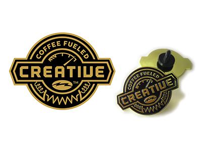 Coffee Fueled Creative Logo Pin