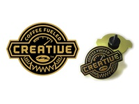 Coffee Fueled Creative Logo Pin