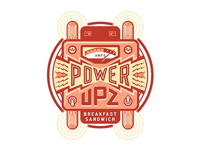 POWER UPZ electric power food illustration lettering typography packaging label