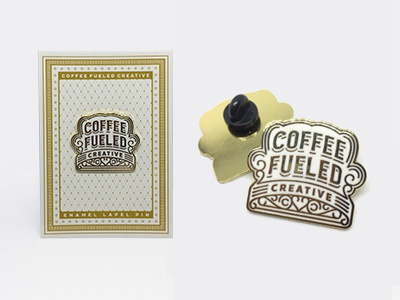 Coffee Fueled Creative Pin crest lettering type badge pin icon logo coffee