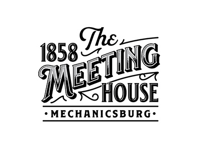 The 1858 Meeting House historical script custom typogaphy lettering design lettering logo