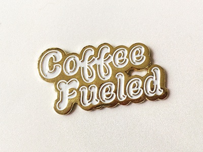 Coffee Fueled Lapel Pin lapel pin design typography custom lettering logo coffee