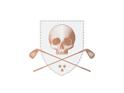 Golf Club bones head tradition stars engraving patch shield death scull golf clubs coat of arms heraldry branding design illustration icon mark minimal logo