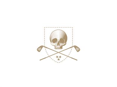Skull and Clubs shield society dead engraved stitching identity visual branding design brand graphic sport golf stars bones design branding illustration icon mark logo