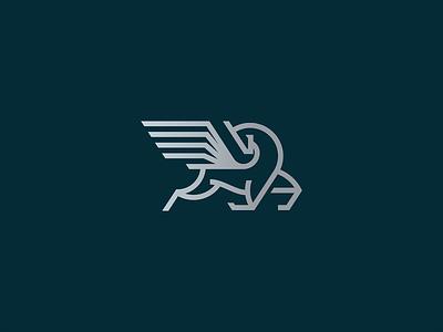 Pegasus identity flow thunder flying greek mythology horse modern heraldy wings line lineart geometry branding mark illustration icon minimal logo