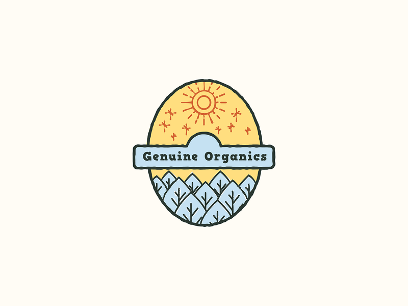 Genuine Organics groceries agriculture outdoors sun stars health green local icon heraldry geometry minimal design branding mark illustration food nature badge logo