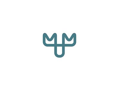 Moose animal letter m outdoors wild nature head antlers elk minimalist lineart line branding geometry illustration icon mark minimal logo