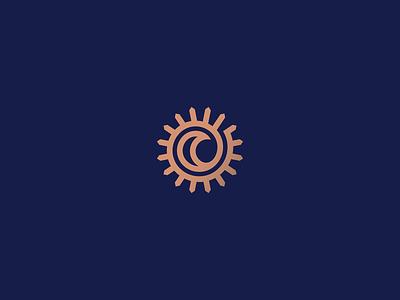 The Sun and The Moon day night the one embrace spiral poem sky moon sun heraldry lineart line design branding geometry illustration mark minimal logo