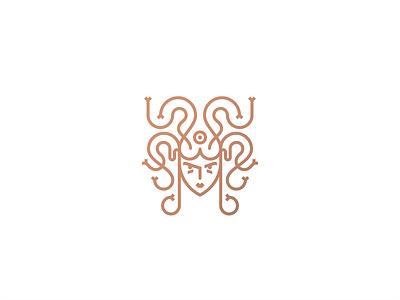 Medusa character girl greek mythology look snakes eye face icon heraldry lineart line branding mark logo minimal geometry illustration