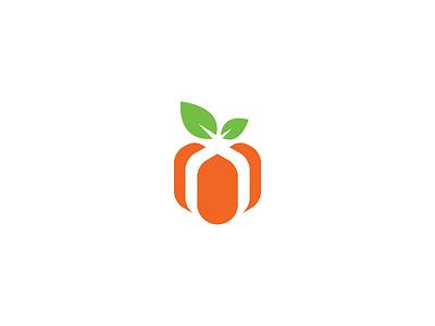 Fruit Box identity visual geometry illustration mark minimal logo branding healthy nature fresh orange leaf leaves ribbon tie gift