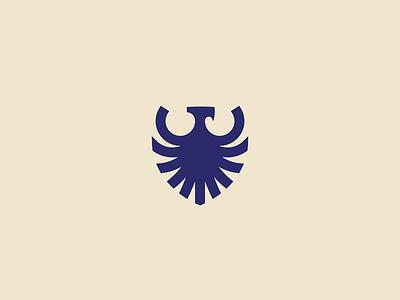 Eagle symbol line animal branding geometry logo mark icon badge luxury elegant minimalist wings coat of arms shield heraldry modern