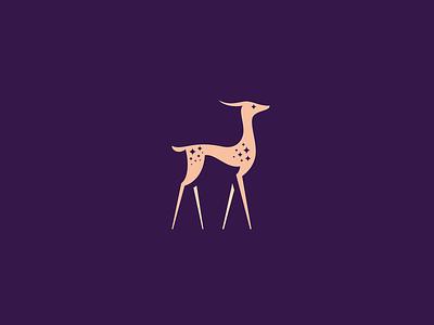 Gazelle antelope symbol identity icon mark branding minimal logo delicate beauty wild africa spark star feminine luxury refined elegant grace animal